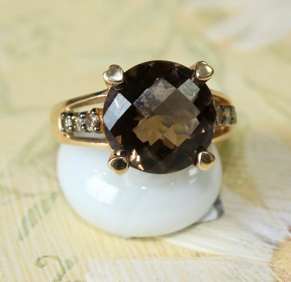 Round Smokey Quartz Ring