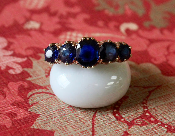 Antique ~ Rose Gold and Sapphire Ring