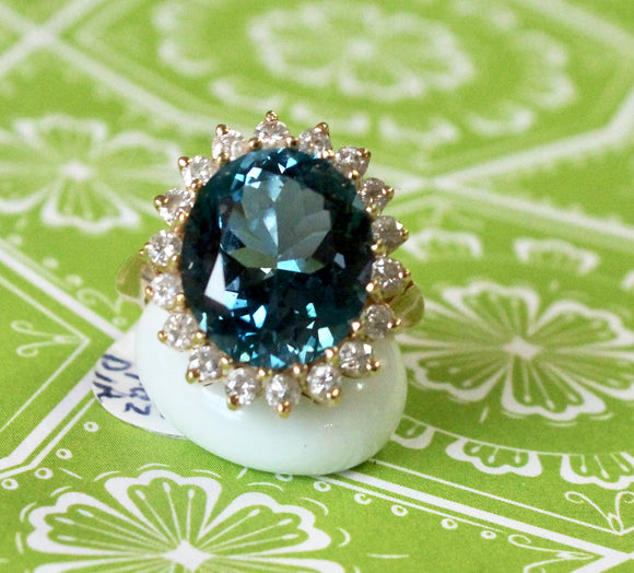 Fabulous ~ Large Oval London Blue Topaz Ring