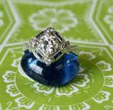VINTAGE ~ Diamond Ring with blue accent stones