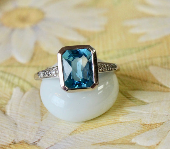 Sparkling & Colorful ~ Emerald Cut Blue Topaz Ring with Diamond Detail