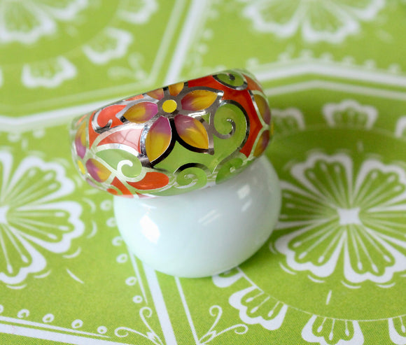 Colorful & Fun ~ Sterling Enamel Ring