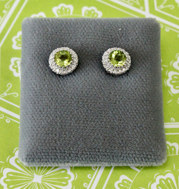 Pretty ~ Peridot & Diamond Earrings