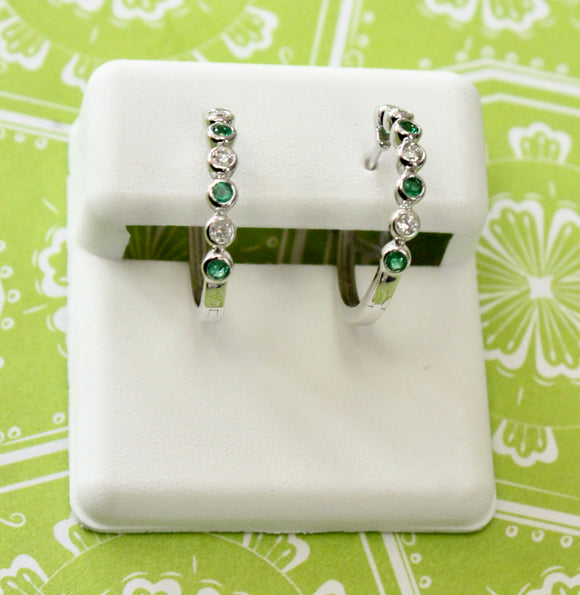 Delightful ~ Diamond & Emerald Hoop Earrings