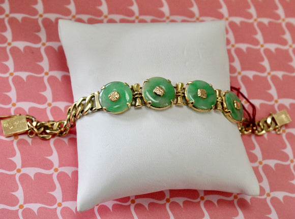 Colorful ~Jade Medallion and Gold Link Bracelet