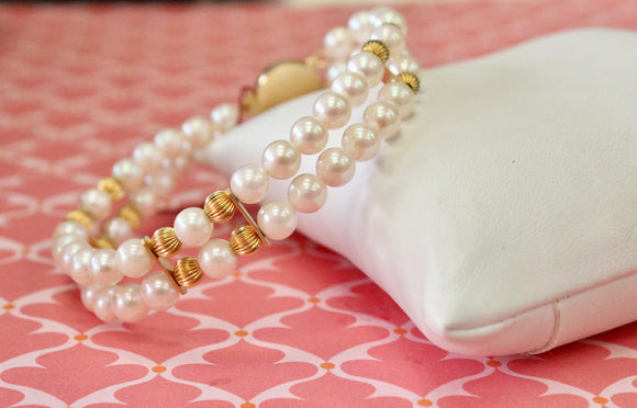 Charming ~ Gold & Pearl Bracelet