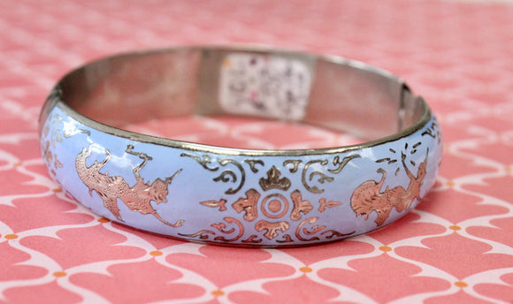 Vintage ~ Siam Silver & Enamel Bangle