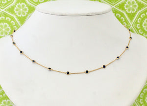 Enchanting ~ Sapphire Necklace with adjustable lengths, yellow gold