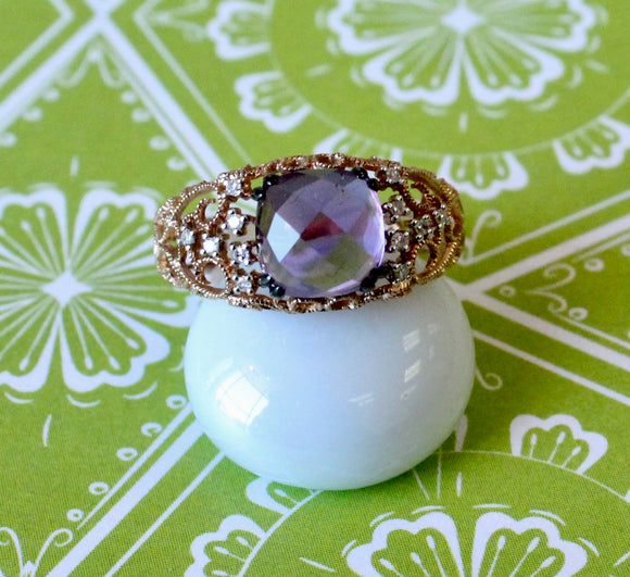 Lovely ~ Amethyst & Diamond Ring