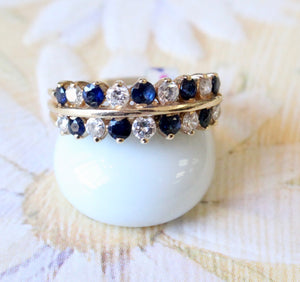 Lovely ~ Double row Sapphire & Diamond Ring