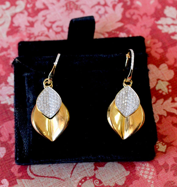 Captivating ~ Diamond Leaf Drop Earrings