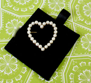 Charming ~ Heart Shaped Pearl Pin