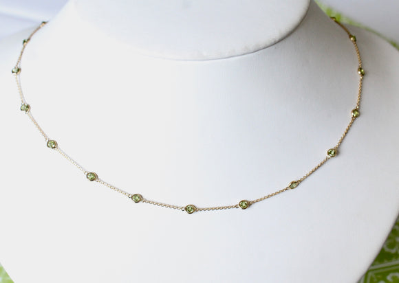 Pretty & Perfect  ~ Peridot Necklace with adjustable length