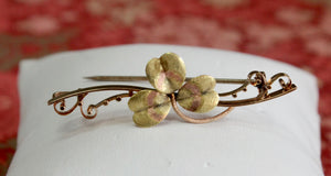 Antique ~ Decorative Rose & Green Gold Pin