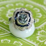 Aquamarine, Sapphire and Diamond Ring