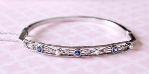 Vintage Diamond, Sapphire and Pearl Bangle