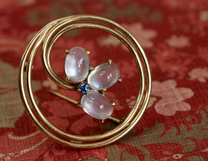 Lovely ~ Moonstone Pin with Sapphire accent