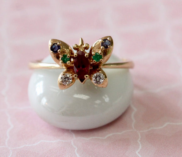 Colorful & Sweet ~ Ruby, Diamond, Emerald and Sapphire Butterfly Ring