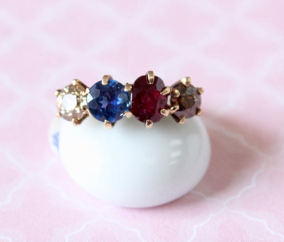 Antique ~ Ruby, Sapphire & Natural Diamond Ring