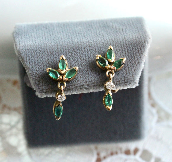 Dainty & Sweet ~ Emerald & Diamond Drop Earrings