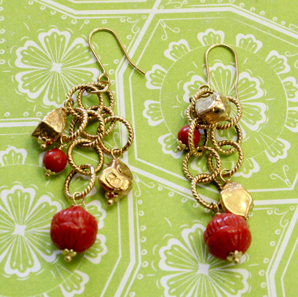 Designer Coral Drop Earrings