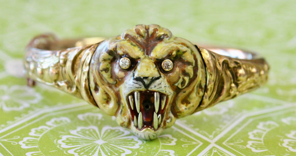 Distinctive & Dramatic ~ Tiger Art Nouveau Bangle Bracelet