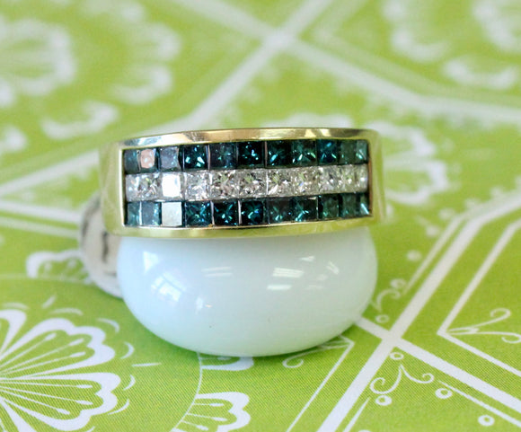 Sparkling ~ Colorful Blue Stone Band with Diamonds
