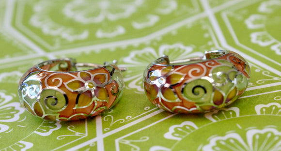Cheerful & Colorful ~ Sterling and Enamel Hoop Earrings