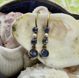Antique ~ Natural Sapphire & Pearl Earrings, Circa 1900