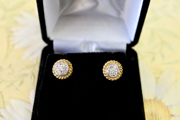 Diamond Cluster Stud Earrings with decorative gold edging