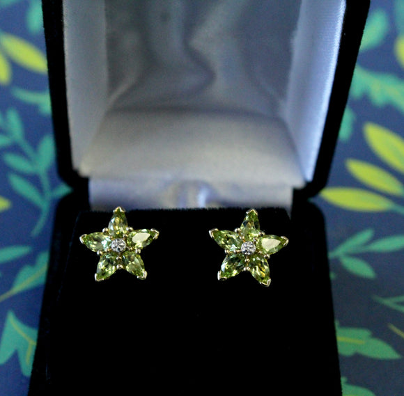 Fun & Colorful ~ Peridot Star Earrings