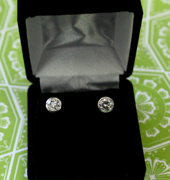 Gorgeous ~ Bezel Set Diamond Stud Earrings
