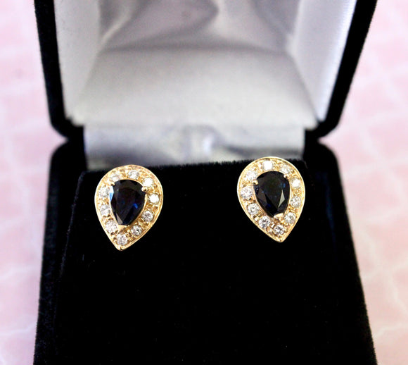 Pear Shaped Sapphire & Diamond Earrings