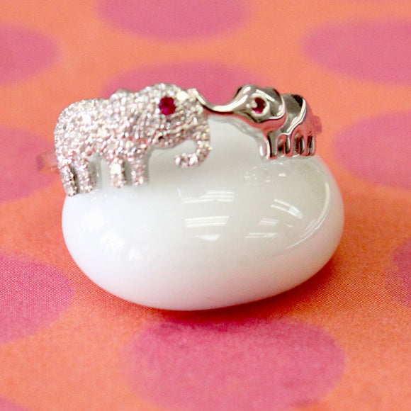 Dainty & Adorable ~  Mother and baby Elephant Diamond Ring with Ruby eyes