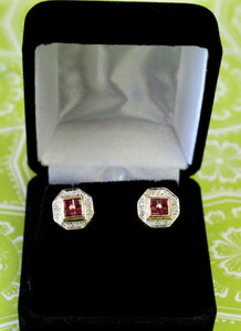 Lovely ~ Ruby & Diamond Stud Earrings