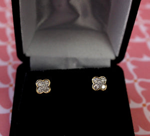 Lovable ~ Floral Motif Diamond Stud Earrings
