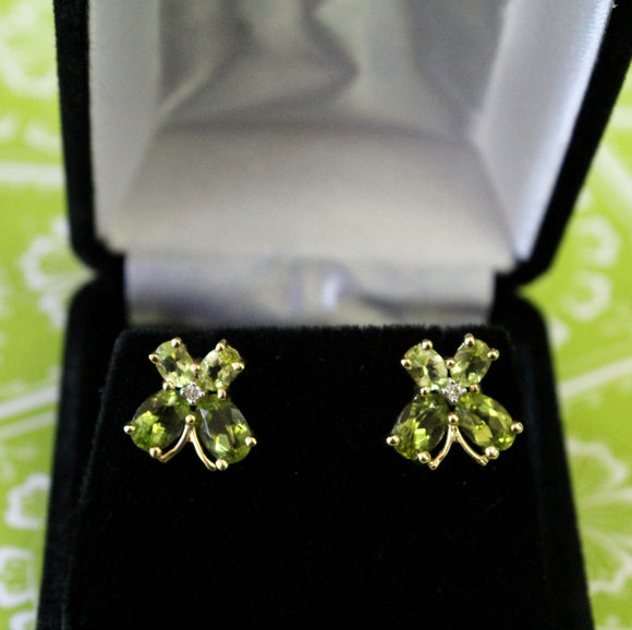 Pretty ~ Peridot with Diamond accent Stud Earrings