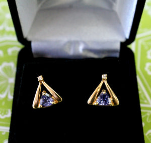 Flirty ~ Tanzanite & Diamond Stud Earrings