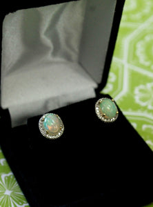 Adorable ~ Opal & Diamond Stud Earrings