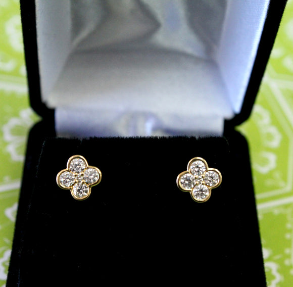 Sweet ~ Floral Motif Diamond Stud Earrings