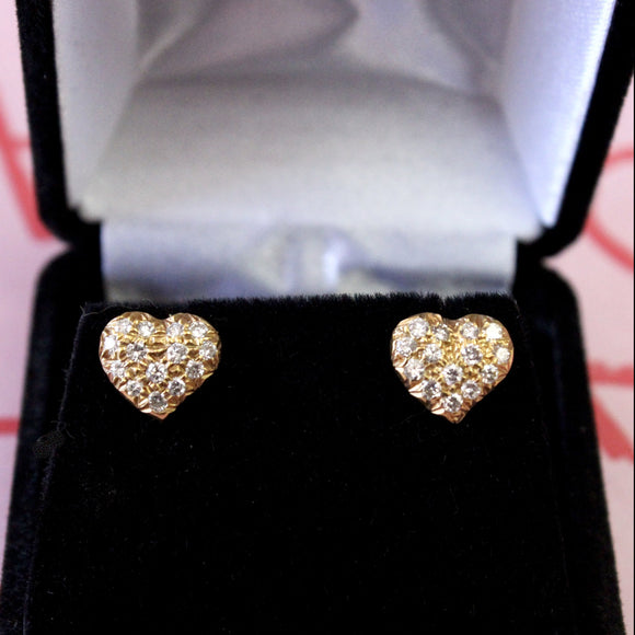 Romantic ~ Heart Shaped Diamond Stud Earrings
