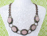 Lovely & Detailed ~ Enamel and Rose Quartz Neckpiece