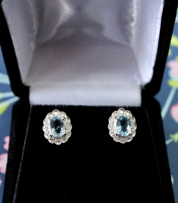 Sparkling ~ Oval Aquamarine & Diamond Earrings