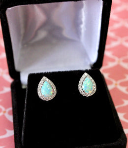 Lovely ~ Pear Shaped Opal Earrings with Diamonds