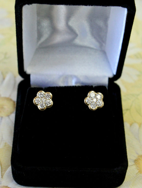 Flower Shaped ~ Diamond Stud Earrings