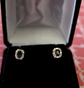 Dainty ~ Sapphire & Diamond Stud Earrings