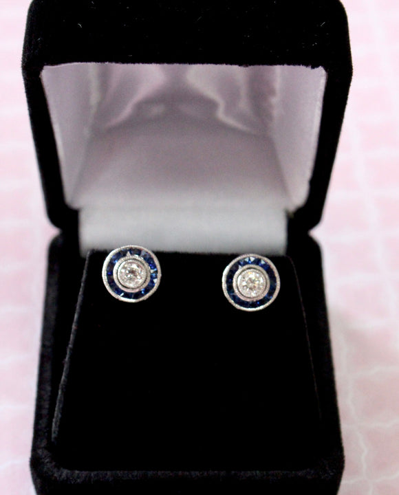 INTRIGUING  ~ Diamond stud earrings with Sapphire Jackets, two ways to wear them