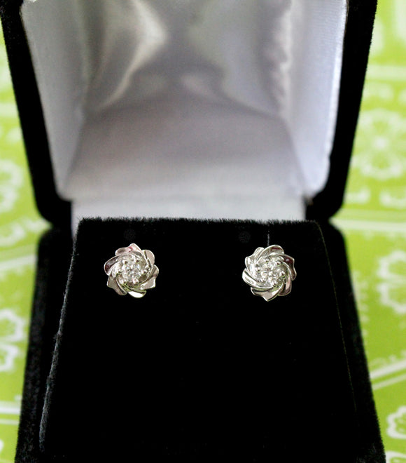 Fun & Flirty ~ Floral Style Diamond Earrings