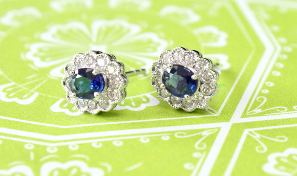 Sparkling ~ Oval Sapphire & Diamond Earrings