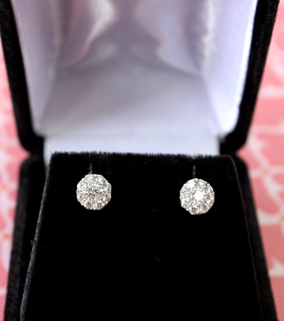 Pleasing  ~ Diamond Clustered Stud Earrings